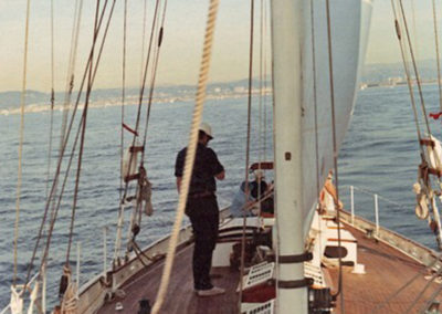 Sailing off the California coast in 1973.