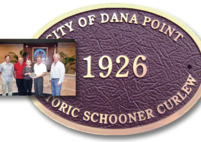 Bob Harrison being presented the Historic Schooner Plaque by the City of Dana Point.