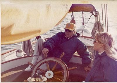 Carlos sails Curlew in Marina del Rey.