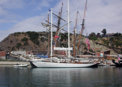 Curlew side ties with other tall ships for the annual Toshiba Tall Ships Festival at the Ocean Institute in Dana Point California.
