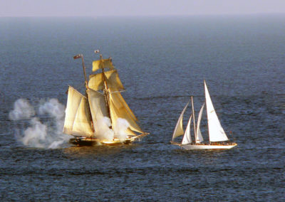 Curlew takes on the San Diego Maritime Museums 145ft Topsail Schooner Californian.