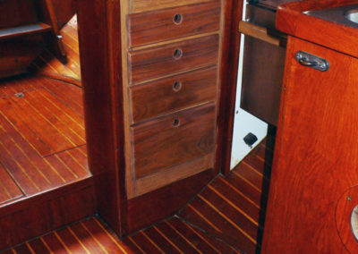 In 2011 Rick Brown redesigned and installed this tradilional looking but very functional galley cabinetry.