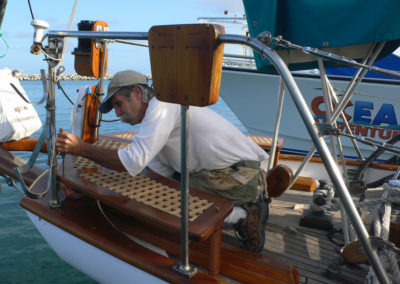 Rick putting final touches on a custom stern seat.