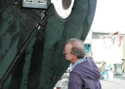 Surveyor checking Rudder.