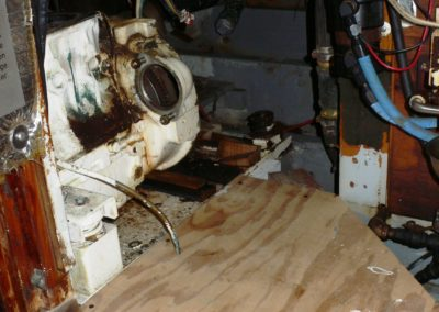While Rick Brown, Shipwright was working on the stern, Ed Benz and I undertook to remove the old Kohler 8kw genset.