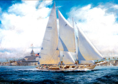 "The picture above is of a painting that was commissioned by the Newport Nautical Museum for the exhibit, ""Famous Yachts of Newport"". Image courtesy Marcus De Chevrieux, Curlew Crew 1990-2001 Copyright 1999 - Caleb Whitbeck, ASM"